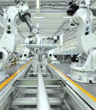 Robotic arms on an assembly line