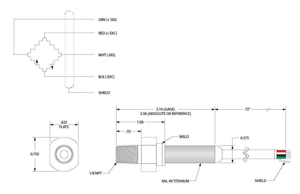 Drawing and schematic of our MP56 Transducer